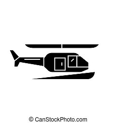 Helicopter black icon concept. Helicopter  vector sign, symbol, illustration.
