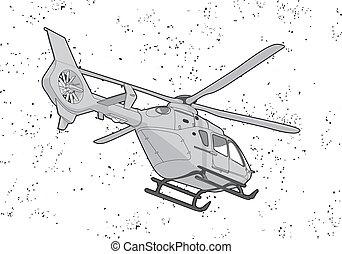 black outline vector helicopter on white background
