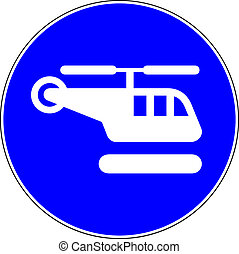 Helicopter blue sign on white background