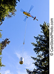 Helicopter Carrying Cargo in the Remote Woodlands