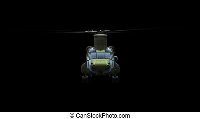 Helicopter CH-47 Chinook - Render of camera front flying...