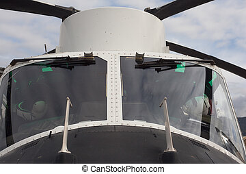 Helicopter - Cockpit of helicopter static on the ground