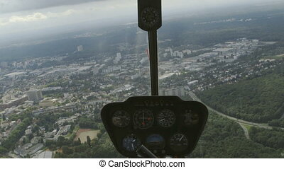 helicopter cockpit view flying over Frankfurt - flying with...