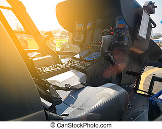 Helicopter cockpit with control panels