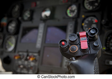 helicopter control stick in side pilot cockpit