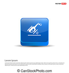 Helicopter crash icon  - 3d Blue Button