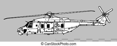 helicopter., dibujo, nhindustries, combate, illustration., ...