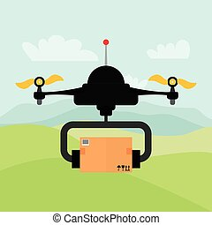 Helicopter drone design. technology icon, vector graphic