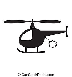 Helicopter - Cute black vector helicopter icon on white...