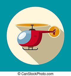 Helicopter Flat Design Symbol. Vector Icon.