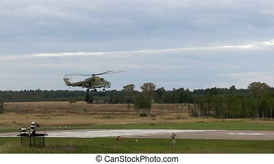 Helicopter flying low above runway video