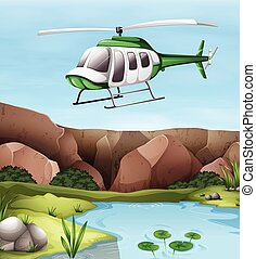 Helicopter flying over the cliff