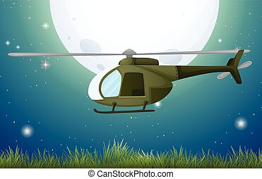 Helicopter flying over the field