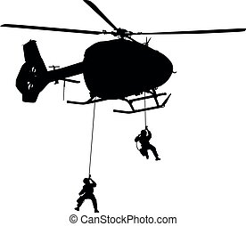 Helicopter H 145 M / H145M Air Force, German Air Force, Police Special Forces abseil from helicopter