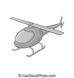 Helicopter icon, black monochrome style