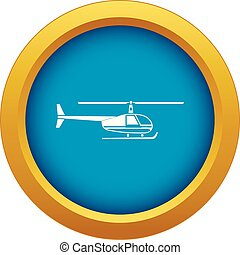 Helicopter icon blue vector isolated