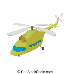 Helicopter icon, cartoon style
