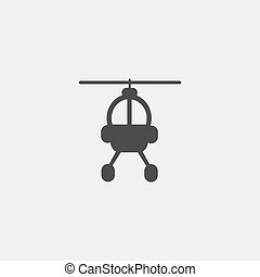 helicopter icon in a flat design in black color. Vector illustration eps10