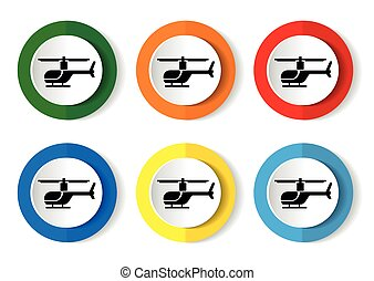 helicopter icon on round internet button. Vector