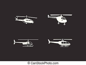 Helicopter icon set grey vector