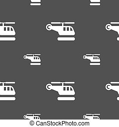 helicopter icon sign. Seamless pattern on a gray background. Vector