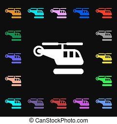 helicopter iconi sign. Lots of colorful symbols for your design. Vector