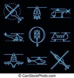 Helicopter icons set vector neon