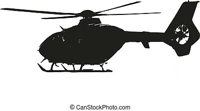 helicopter during flight - isolated vector illustration
