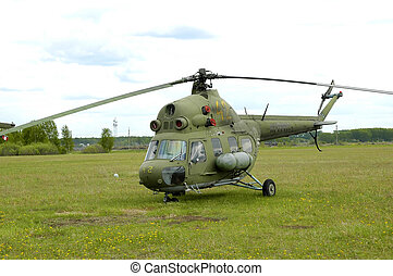 Helicopter in airport