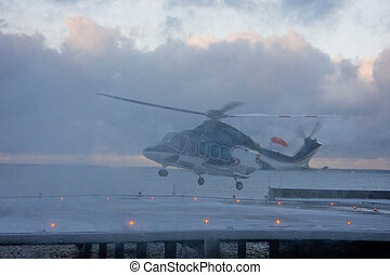 Helicopter in snow storm