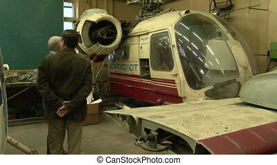 Helicopter in the hangar