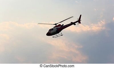 Helicopter in the sky - LUKLA, NEPAL - APRIL 2:...