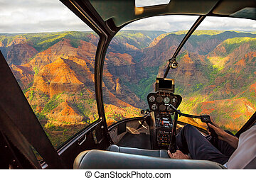 Helicopter in Waimea Canyon Hawaii