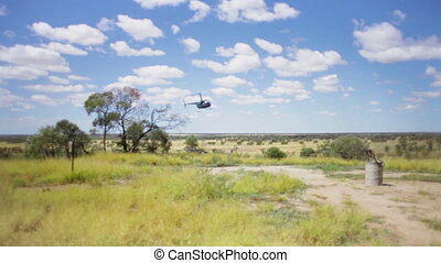 Helicopter landing - A long blurry shot of a helicopter...