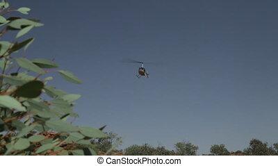 Helicopter landing in the desert, Outback, NT - Medium...