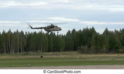 Helicopter landing on take-off area view
