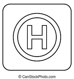 Helicopter landing pad Helicopter place icon black color outline vector illustration flat style image