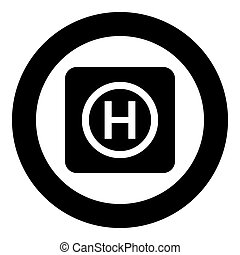 Helicopter landing pad Helicopter place icon in circle round black color vector illustration flat style image