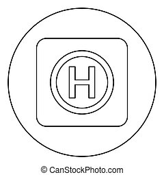 Helicopter landing pad Helicopter place icon in circle round outline black color vector illustration flat style image