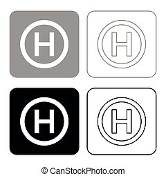 Helicopter landing pad Helicopter place icon set black color vector illustration flat style image