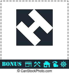 Helicopter landing pad icon flat