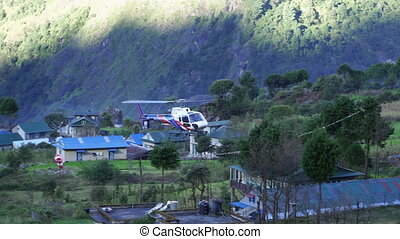 Helicopter lands on deck in Lukla TenzingHillary Airport