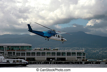Helicopter Liftoff - A helicopter in Vancouver Canada...