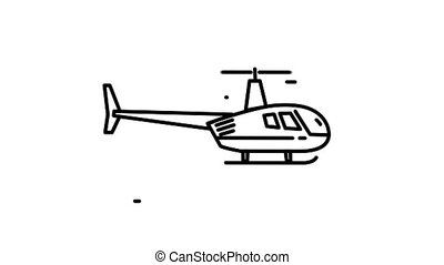 Helicopter line icon on the Alpha Channel