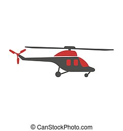 Helicopter logo silhouette isolated in black and red colors