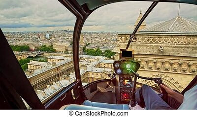 Helicopter Notre Dame of Paris - Helicopter cockpit flying ...