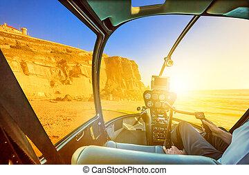 Helicopter on Azenhas do Mar Beach