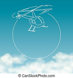 Helicopter on background of cloudy sky with space for text