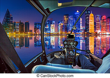 Helicopter on Doha Bay