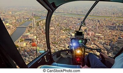 Helicopter on Japan sunset skyline